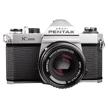 Pentax K1000  https://commons.wikimedia.org/wiki/File:Pentax_K1000.jpg  - no changes made